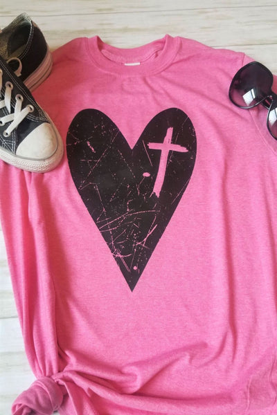 Pink Heart with Cross Graphic T-Shirt - The Pink Petal Boutique