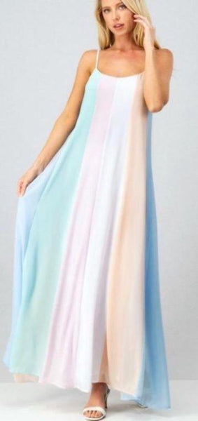Pastel Striped Maxi Dress with Lining - The Pink Petal Boutique