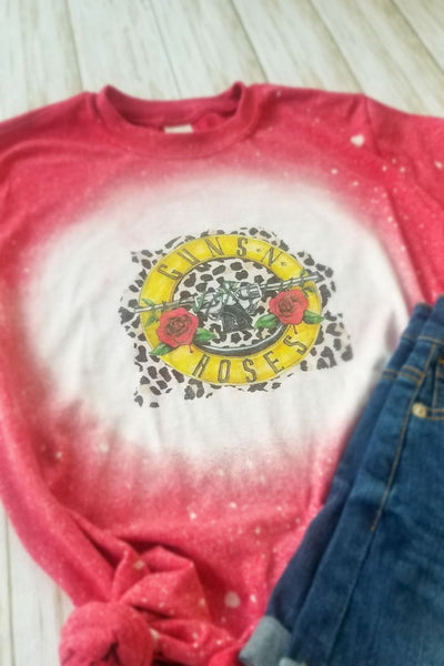 Red Guns N' Roses Bleached Graphic T-Shirt - The Pink Petal Boutique