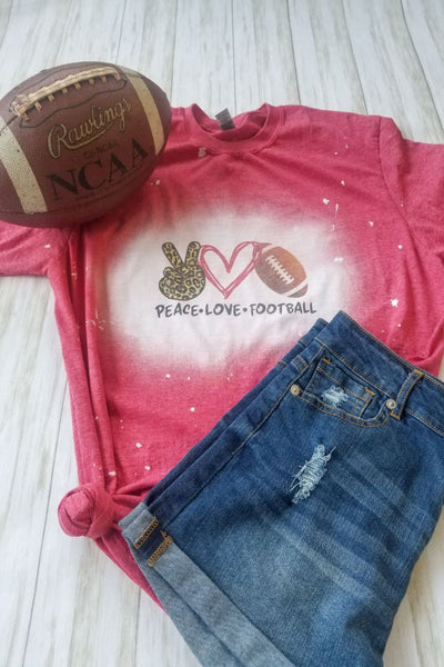 Red Peace-Love-Football Bleached Graphic Tee