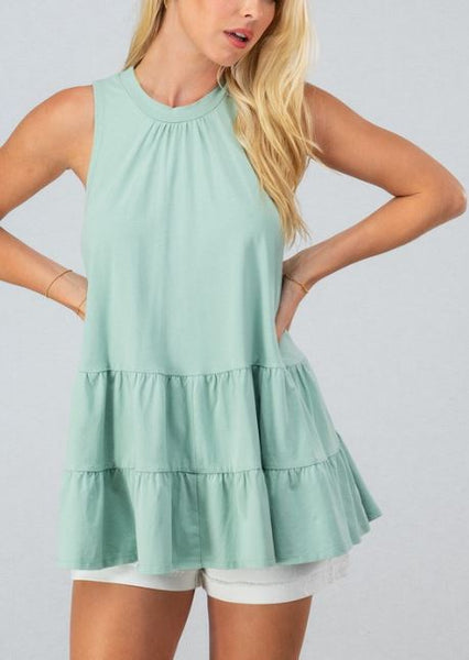 Ruffle Layer With Back Cutout Sleeveless Top