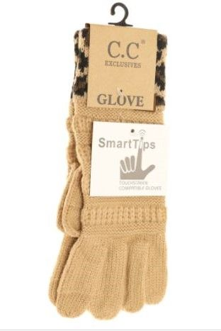 Solid Cable Knit Leopard Cuff CC Gloves