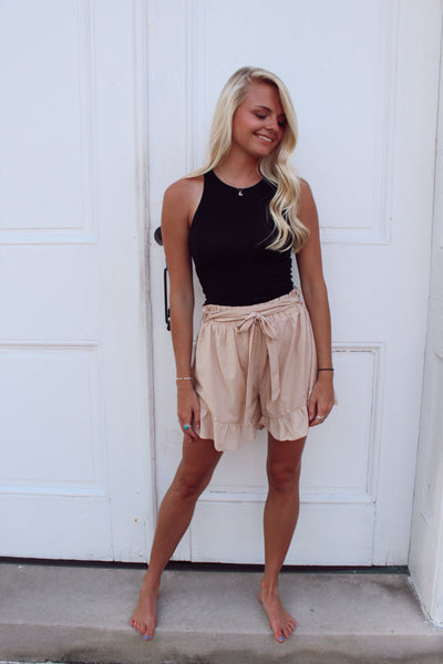 Ruffle Hem Ribbon Belt Shorts - Taupe - The Pink Petal Boutique