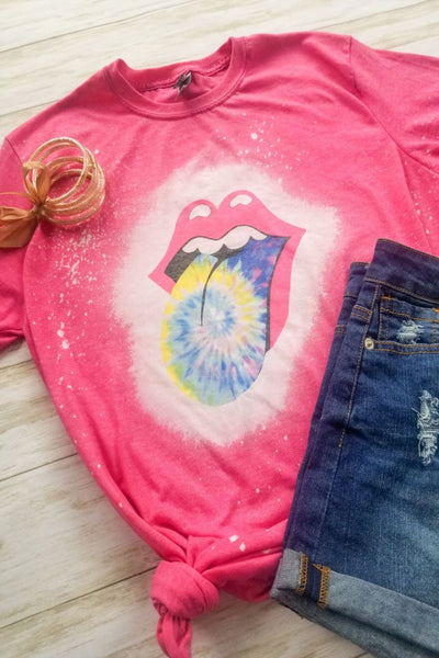 Tie Dye Tongue Pink Bleached Graphic T-shirt - The Pink Petal Boutique