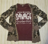 Camouflage print button snap cardigan