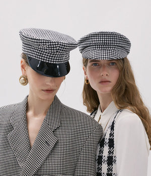 Houndstooth Check Cap