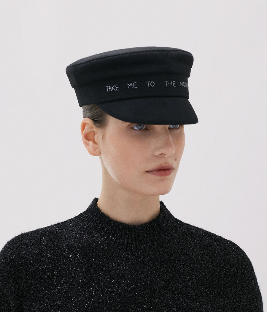 """Take me to the moon"" black wool baker boy cap (4604824354891)"