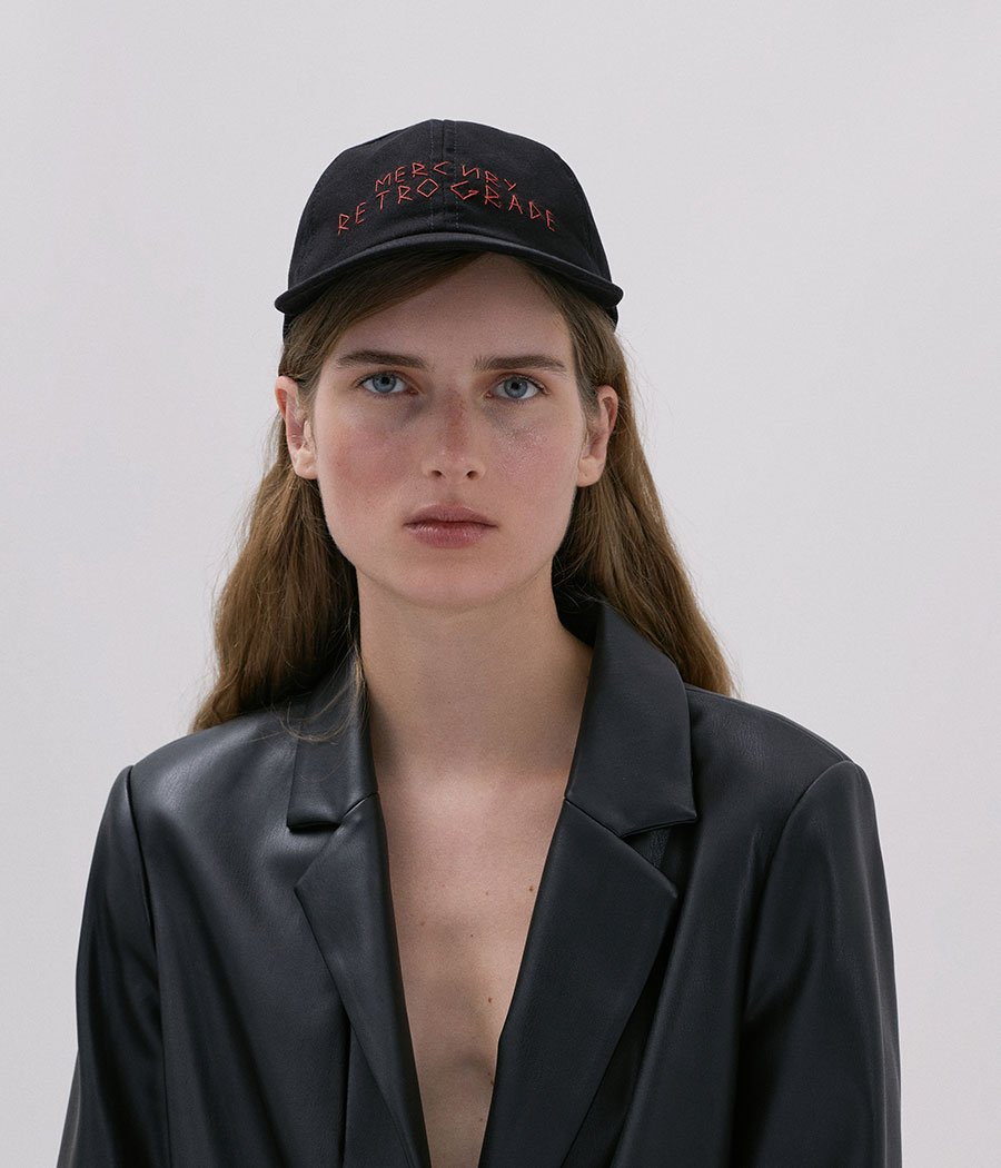 """Mercury Retrograde"" Black Cotton Baseball Cap (4667659124811)"