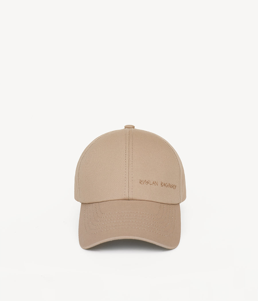 Beige Cotton Baseball Cap