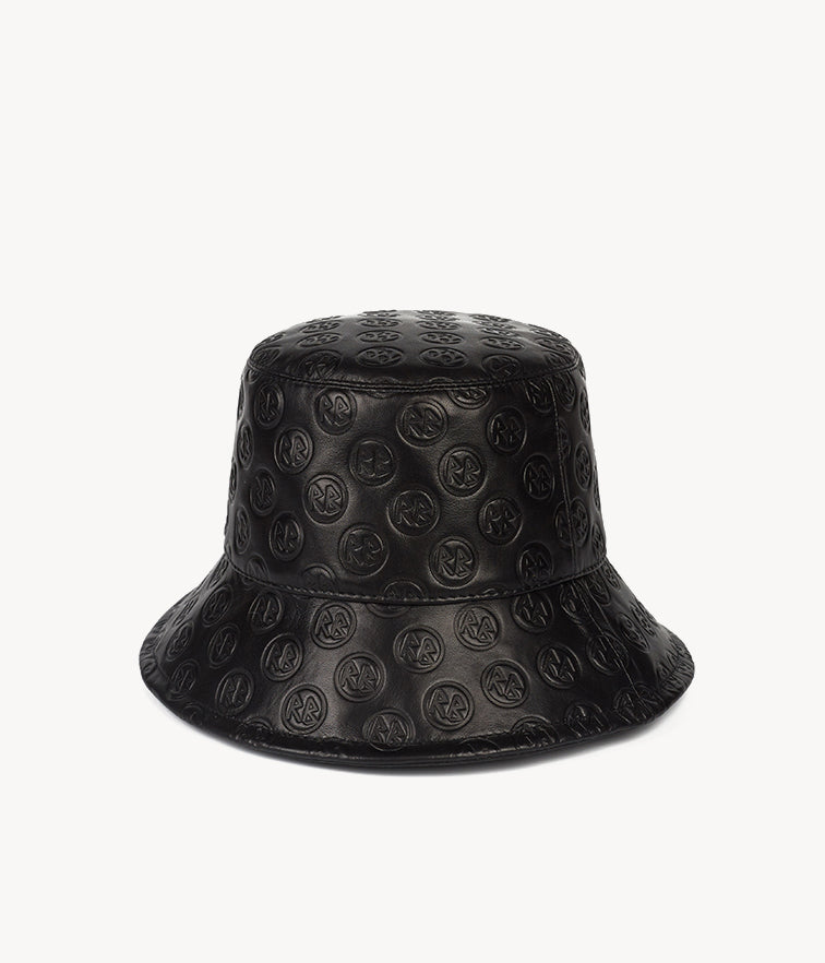 Monogram-embellished Black Leather Bucket Hat (4676667834443)