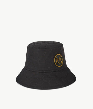 Monogram-embellished Quilted Black Bucket Hat