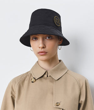 Monogram-embellished Quilted Black Bucket Hat (4676668194891)