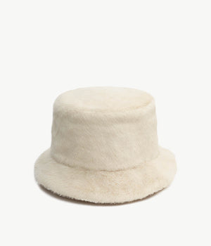 White Faux Fur Bucket Hat (4676669014091)