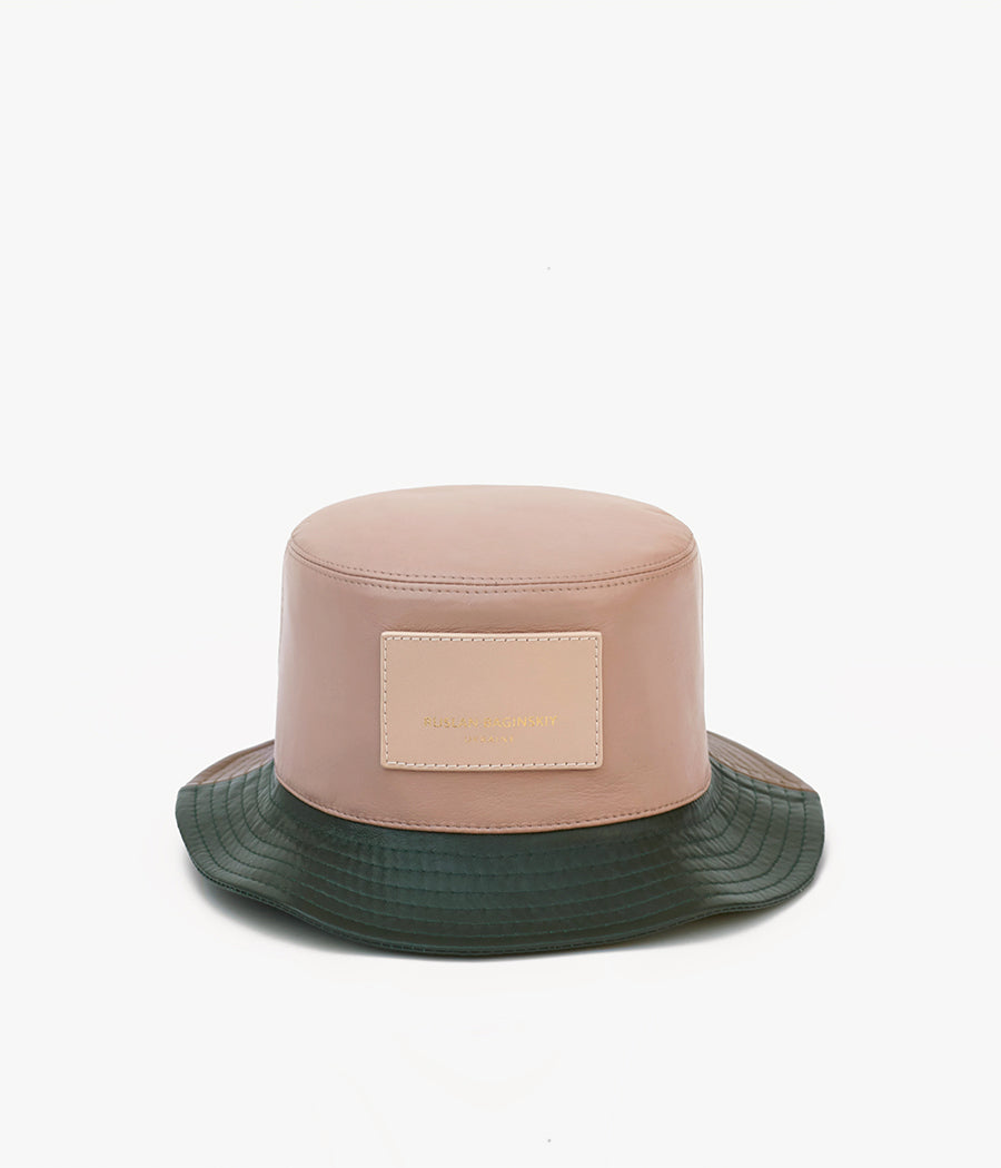 Multicoloured leather bucket hat (4604556771403)