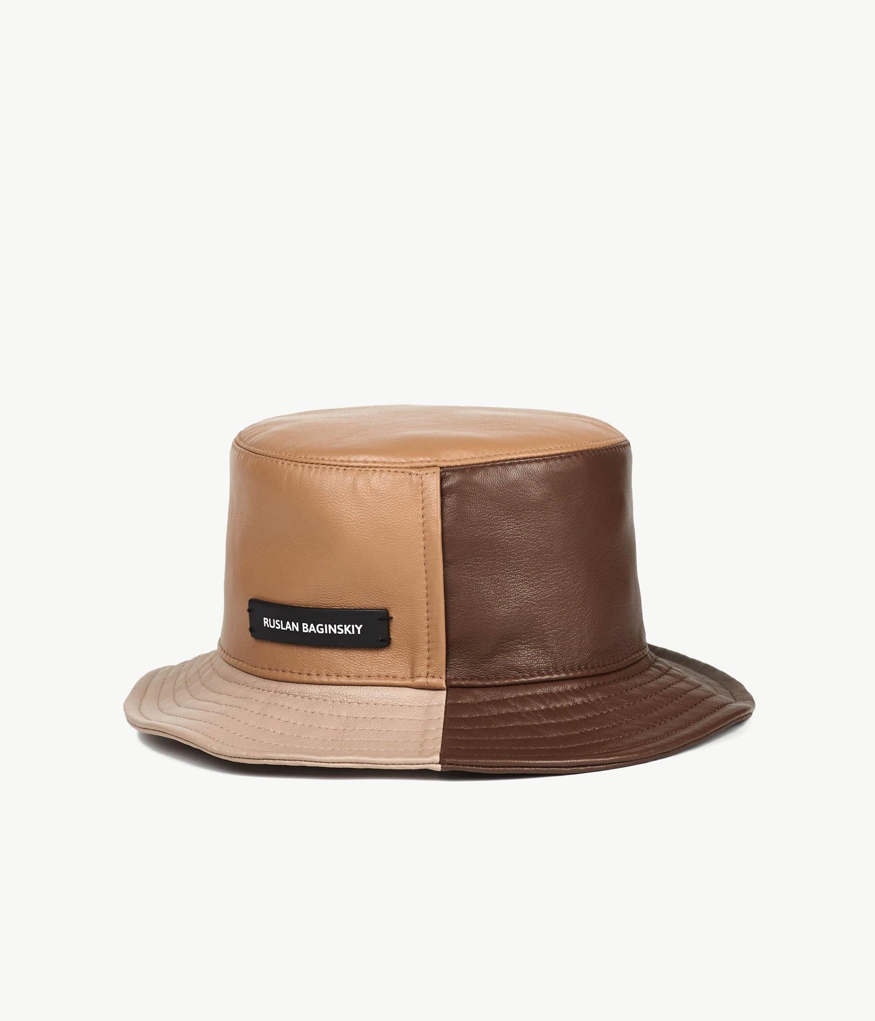 Tri-colored Leather Bucket Hat (4676667080779)