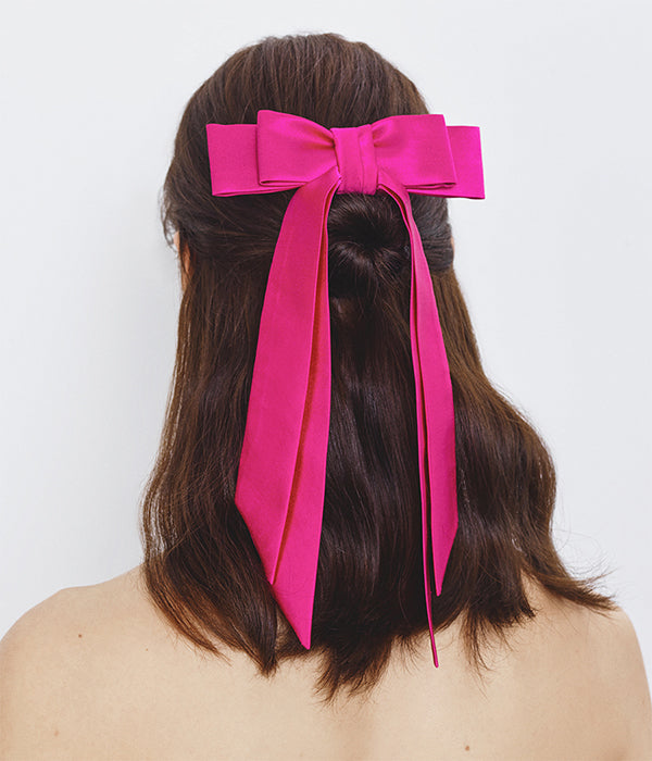Pink Satin Bow Barrette (4676671799371)
