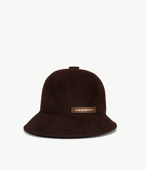 Brown Felt Cloche Hat (4676672618571)