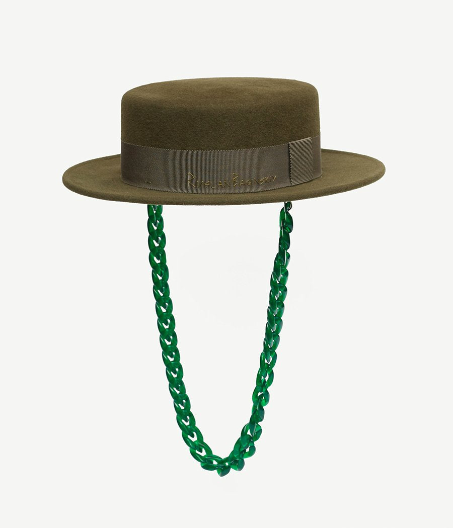 Chain Embellished Green Felt Canotier Hat (4667659026507)