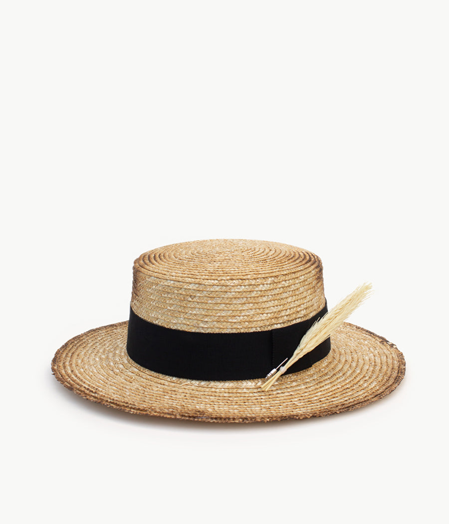 Neutral Straw Boater Hat (4604780085323)
