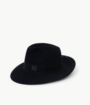 """Take me to the moon"" black felt fedora hat (4604934848587)"