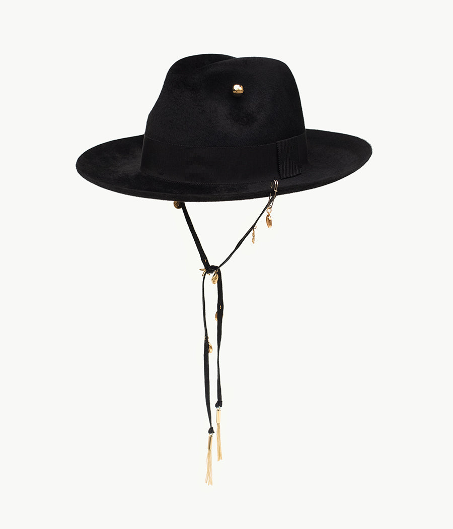 Black pierced felt fedora hat (4604920135755)