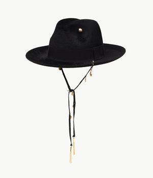 Black pierced felt fedora hat