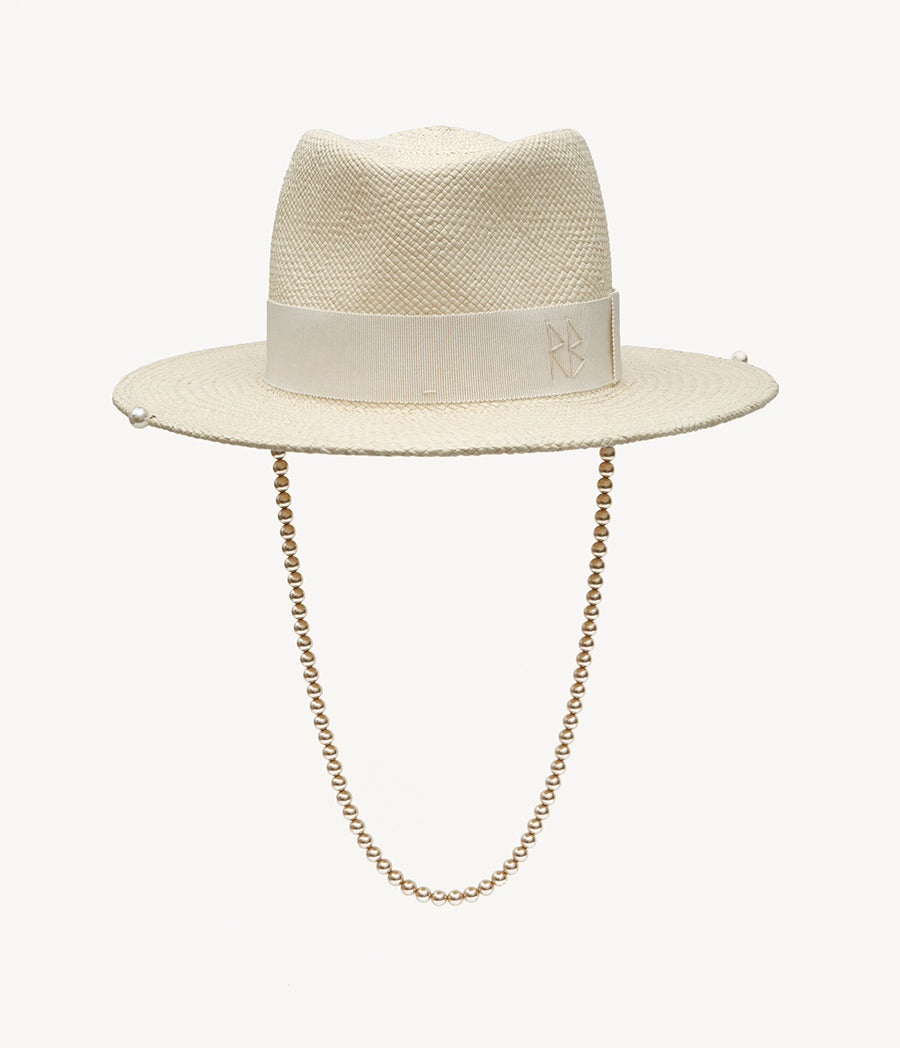 Pearls-embellished Straw Fedora Hat