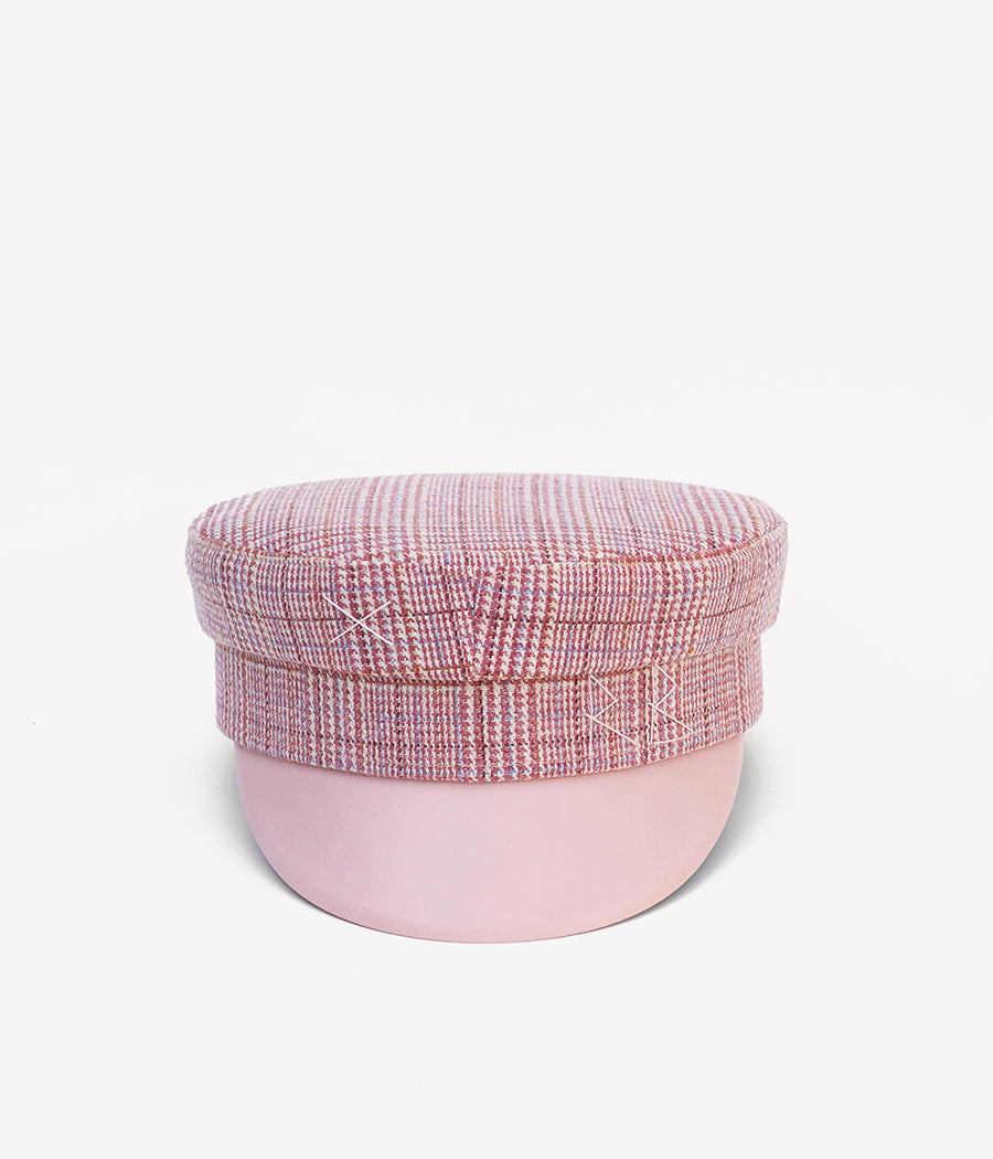 Checked wool baker boy cap (4604867936331)