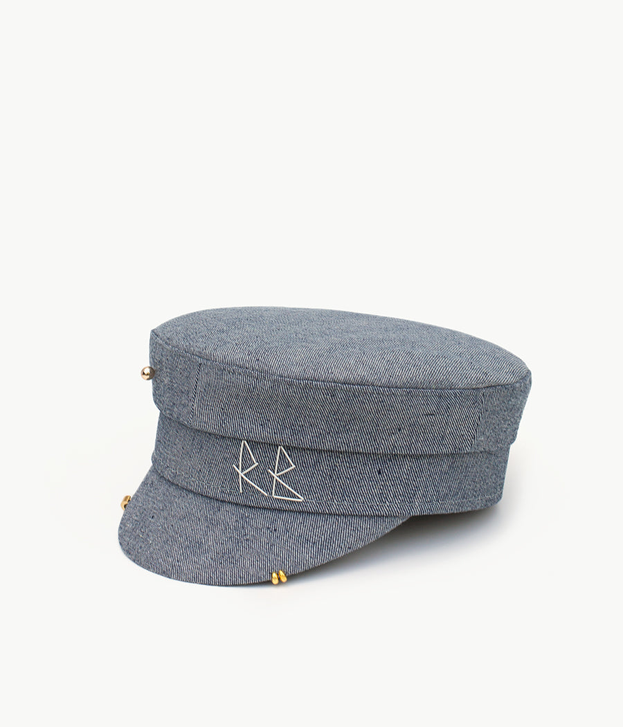 Denim baker boy cap