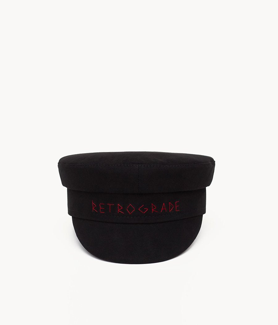 """Mercury Retrograde"" Black Cotton Baker Boy Cap"