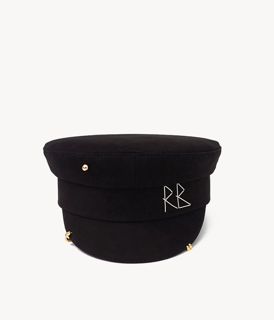 Black pierced cotton baker boy cap