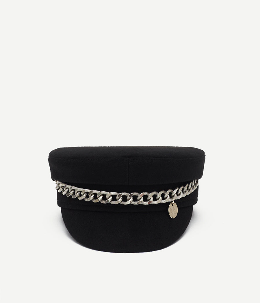 Chain Embellished Baker Boy Cap (4667119566923)