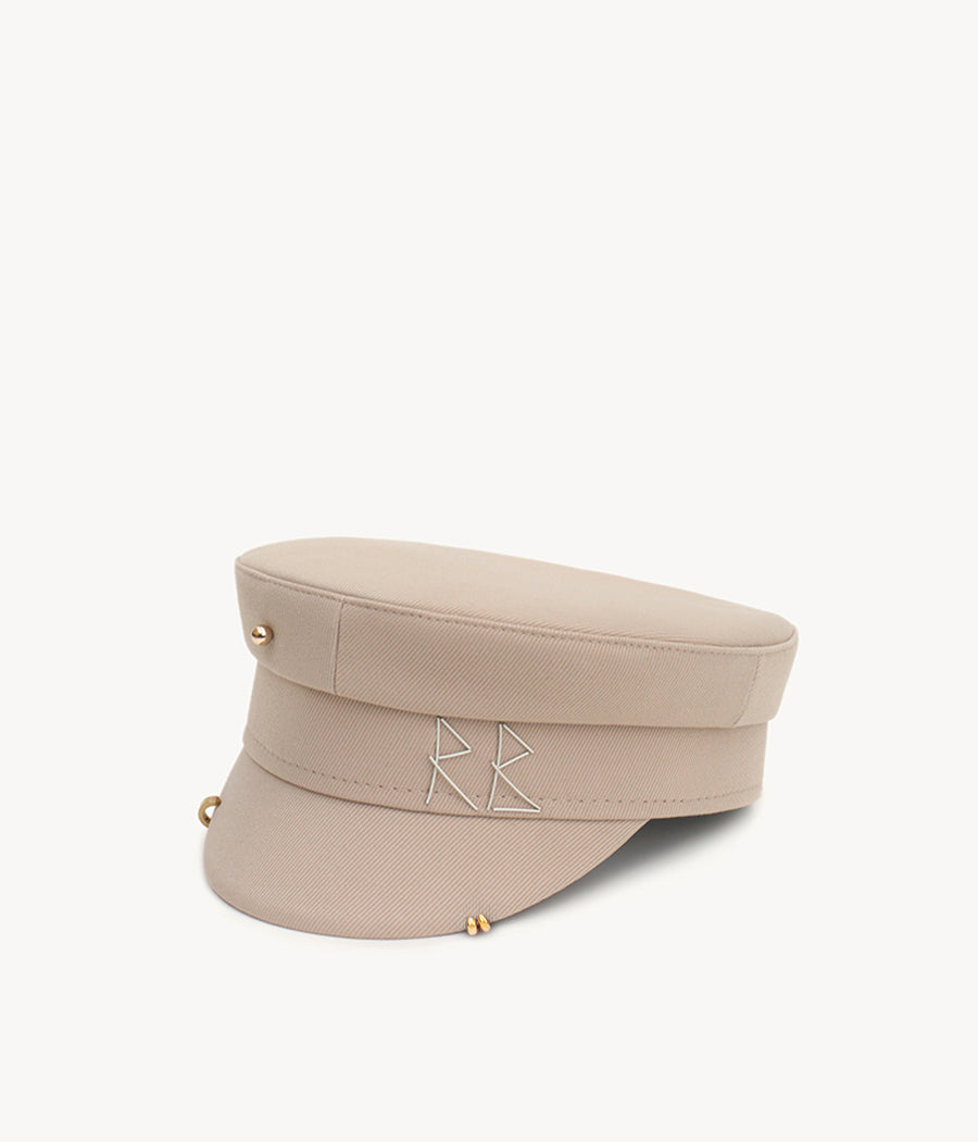 Beige pierced cotton baker boy cap (4604819701835)
