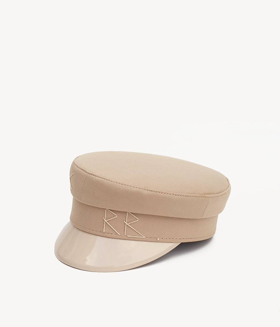 Beige cotton baker boy cap (4604820488267)
