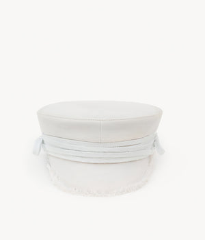 White lace-tied baker boy cap