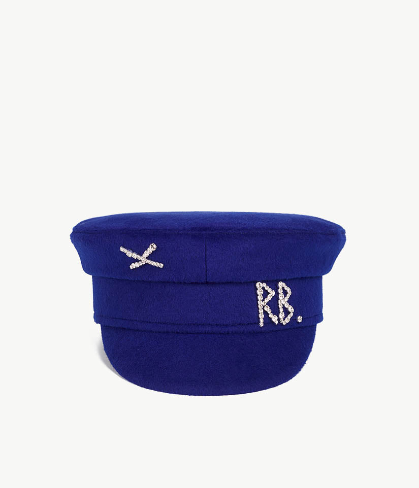 Crystal-embellished Blue Wool Baker Boy Cap (4676693557323)
