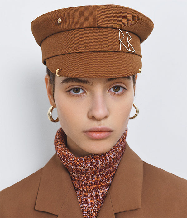 Piercing Brown Cotton Baker Boy Cap (4670748328011)