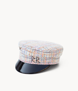 Checked-tweed baker boy cap