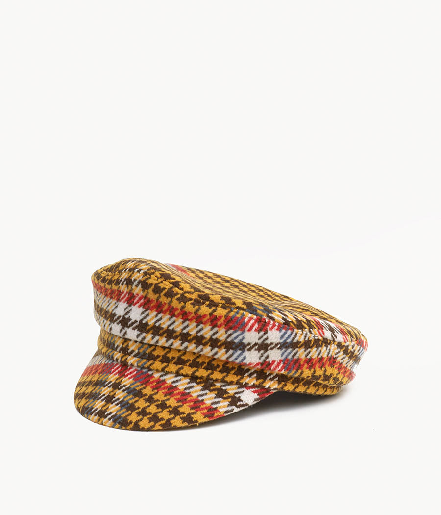 Houndstooth check cap with a peak (4676698669131)