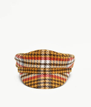 Houndstooth check cap with a peak