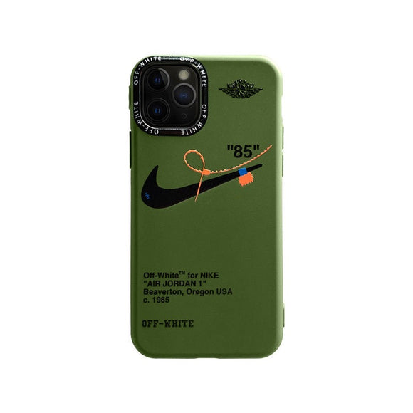 Off White iPhone case in olive green
