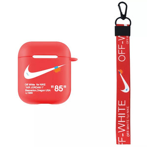 New Off White Nike AirPods Case, includes custom lanyard in red!