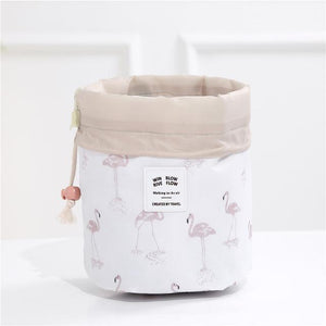 BloomVenus Beige flamingo Women Travel Round Makeup Bag
