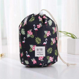 BloomVenus Black flamingo Women Travel Round Makeup Bag