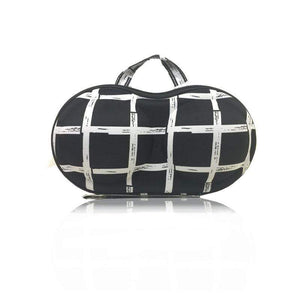BloomVenus Black White Checkered KeepMe™ Travel Bra Storage Case