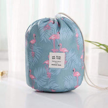 Load image into Gallery viewer, BloomVenus Blue Flamingo Women Travel Round Makeup Bag