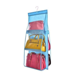 BloomVenus Blue OrgaNice™ 6-Large-Pockets Hanging Handbag Organizer