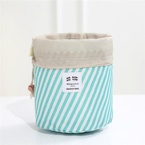 BloomVenus Blue stripes Women Travel Round Makeup Bag