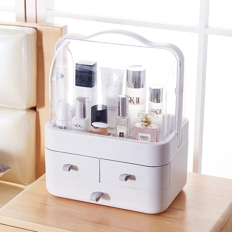 BloomVenus Fashion Double door dust-proof cover with drawer transparent cosmetics storage box 29*17.5*36.5cm