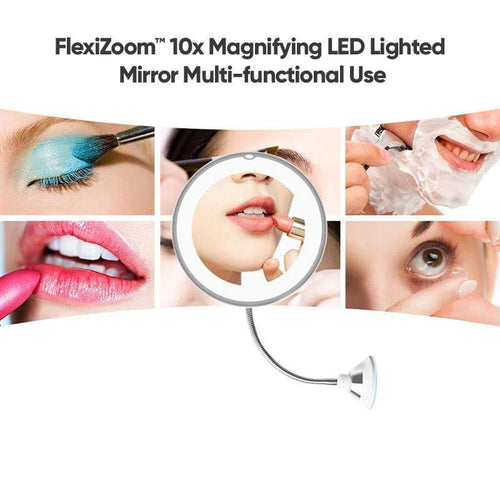 BloomVenus FlexiZoom™ 10x Magnifying LED Lighted Mirror